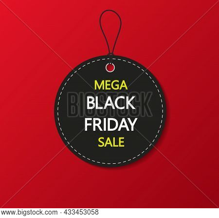 Black Friday Sale Tag. Label And Coupon For Black Friday On Red Background. Banner For Price, Discou