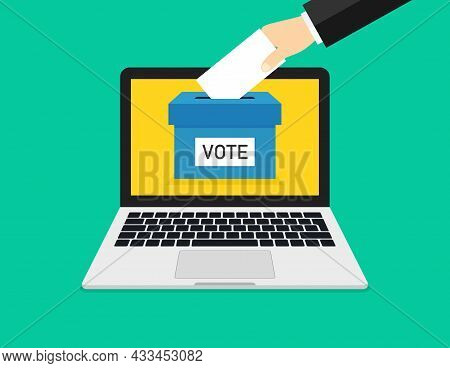 Online Vote In Laptop. Online Poll In Computer. Box, Hand And Ballot For Election. Icon For Internet
