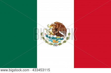 Mexico Flag. National Mexican Emblem. Icon Of Eagle On Mexican Background. Accurate Official Symbol
