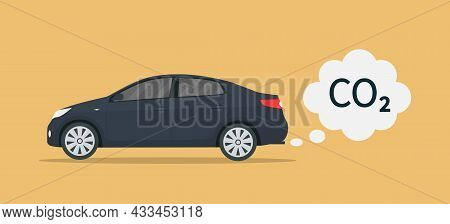 Car Exhaust. Co2 Smoke Cloud From Car. Icon Of Carbon Emission From Vehicle. Transport Pollute Air.