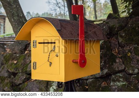 Yellow Street Mailbox For Receiving Newspapers, Letters, Correspondence, Retro Mailbox