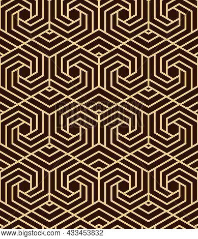 Abstract Geometric Pattern. A Seamless Background. Dark Brown And Gold Ornament. Graphic Modern Patt