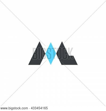 Letter Ml Simple Blue Diamond Shape Geometric Logo Vector