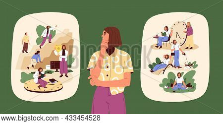 Concept Of Work-life Choice And Balance. Person Comparing And Choosing Between Carefree Rest, Person
