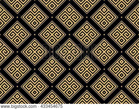 Abstract Geometric Pattern. A Seamless Background. Gold And Black Ornament. Graphic Modern Pattern.