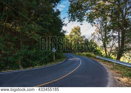 Beautiful Road In The Rural Of Nan City Thailand.nan Is A Rural Province In Northern Thailand Border