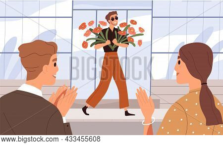 Celebrity Walking Along Street With Flowers In Hands. Happy People Meeting And Greeting Famous Popul