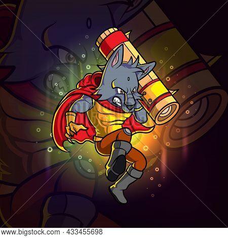 The Cool Wolf Esport Mascot Design Of Illustration