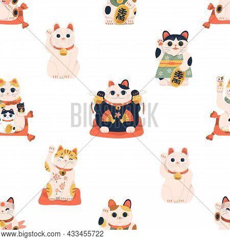 Seamless Japanese Pattern With Maneki-neko Cats. Endless Chinese Background With Lucky Kitty Dolls.