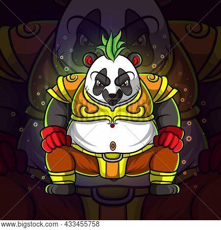 The Cool King Of Panda Esport Logo Design Of Illustration