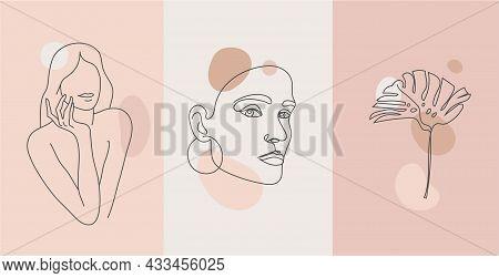 Vector Minimalist Style Portrait. Line Monstera And Woman Portrait. Hand Drawn Abstract Feminine Pri