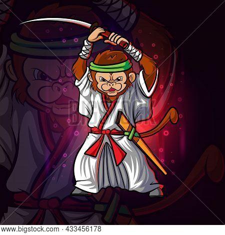 The Cool Samurai Monkey Esport Mascot Design Of Illustration