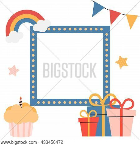 Birthday Kids Card With Frame. Vector Illustration