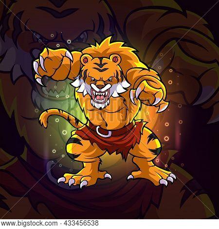 The Grumpy Tiger Esport Mascot Design Of Illustration