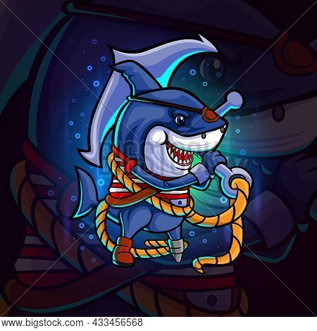The Pirates Shark With The Anchor Esport Mascot Design Of Illustration