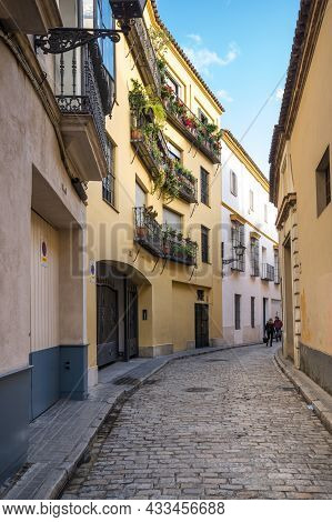 View Of The Street In The Historical Center Of Seville, A Big Tourist Centre In Spain
