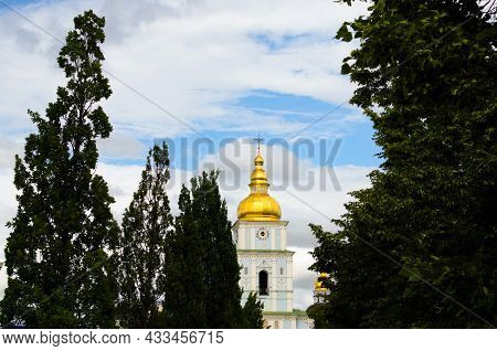 Beautiful Cityscape Of Kyiv's Downtown. Beautiful Bell-tower Of Saint Michael's Golden-domed Monaste
