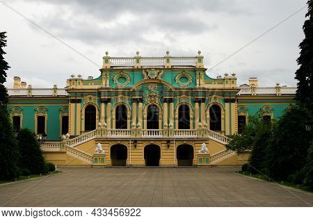 Kyiv, Ukraine-june 13, 2021:detailed View Of Facade Of Mariinsky Palace In Kyiv. It Is Official Cere