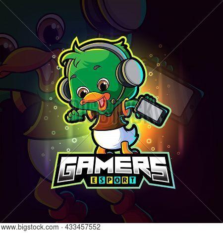 The Little Gamers Duck Esport Logo Design Of Illustration