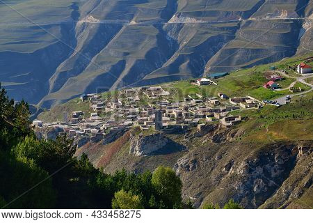 Aerial View On The Ancient Khoye Village Which Located On The Bank Of Ahkhete River. Chechnya (chech