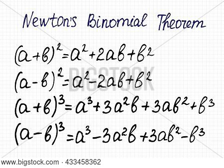 Newton's Binomial Theorem For The Square And Cube Of The Sum And Difference Of Two Terms.  Vector Il