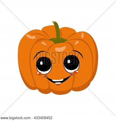 Cute Pumpkin Character With Joy Emotions, Face, Big Eyes And Wide Happy Smile. Festive Decoration Fo
