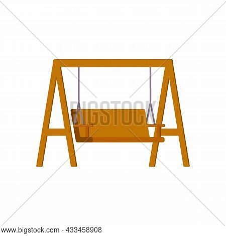 Garden Wooden Swing Or Swinging Bench, Flat Vector Illustration Isolated.
