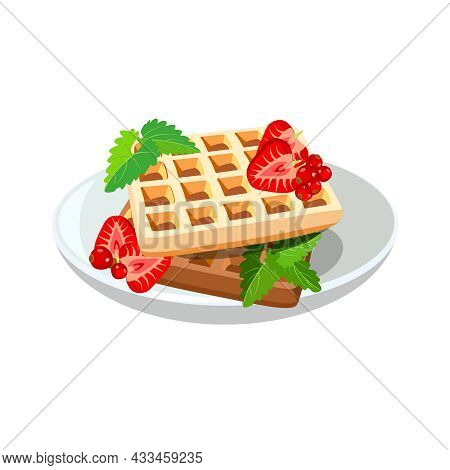 Belgian Waffles Icon With Berries On Plate For Classic Hotel Breakfast. Brunch Healthy Start Day Opt