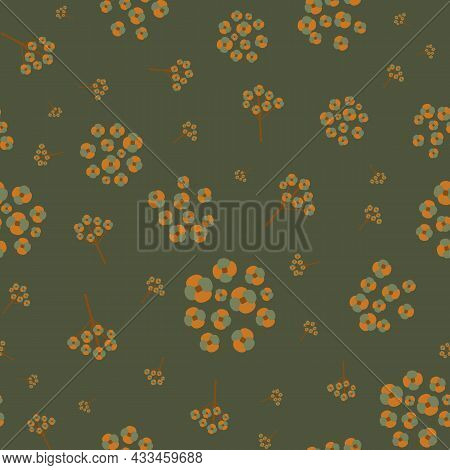 Abstract Forget-me-not Motif Floral Seamless Vector Pattern Background. Sprigs And Groups Mysotis Fl