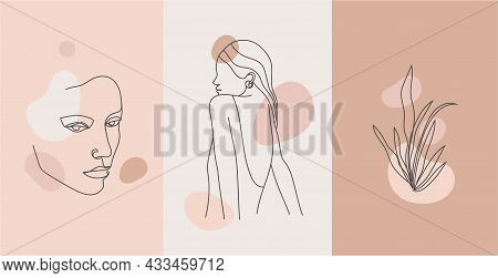 Vector Minimalist Style Portrait. Continuous Line Plant And Woman Portrait. Hand Drawn Abstract Femi
