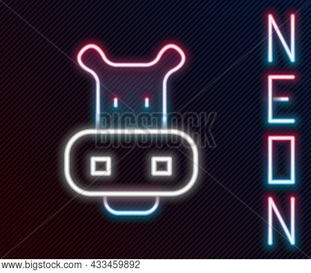 Glowing Neon Line Hippo Or Hippopotamus Icon Isolated On Black Background. Animal Symbol. Colorful O