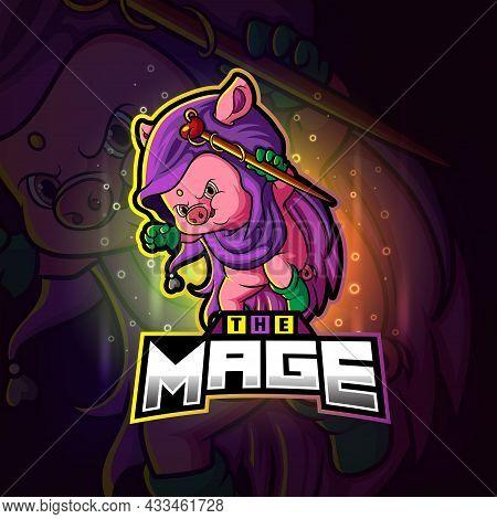 The Mage Pig Esport Mascot Design Of Illustration