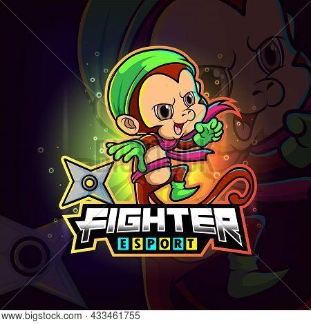 The Fighter Monkey Esport Logo Design Of Illustration