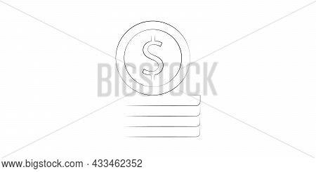 Stack Of Money Dollars. Line Coins. Big Pile Of Cash. Vector Illustration.