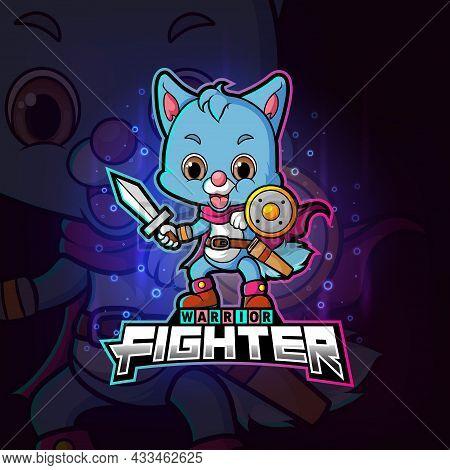 The Cool Warrior Fighter Cat Esport Logo Design Of Illustration