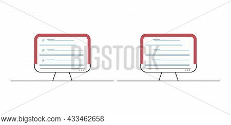 Computer Two Monitor Icon. Pc Desktop Display Symbol. Modern Flat Style With A Long Shadow