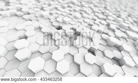 White Hexagon background. 3d rendering.