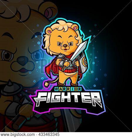 The Knight Lion Cub Esport Logo Design Of Illustration