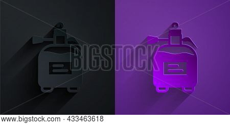 Paper Cut Garden Sprayer For Water, Fertilizer, Chemicals Icon Isolated On Black On Purple Backgroun