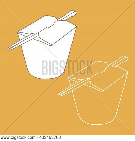 Sticks And Paper Box For Taking Food. Noodle Wok Chinese Food Box.