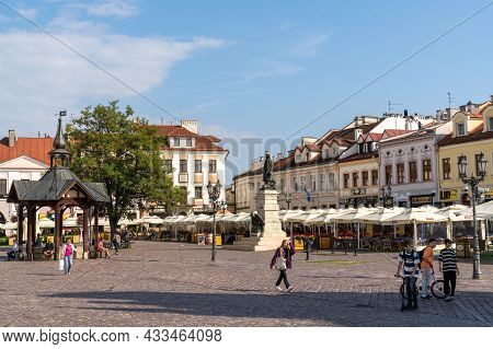 View Of The Market Square In The Historic Old Town City Center Of Rzeszow