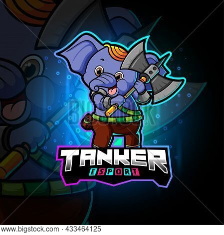 The Happy Tanker Elephant Esport Logo Design Of Illustration