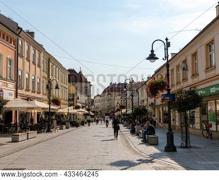 View Of The 3 Maja Street In Downtown Rzeszow With Ist Many Restaurants And Shops