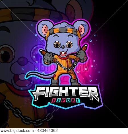 The Fighter Mouse With Nunchakus Esport Logo Design Of Illustration