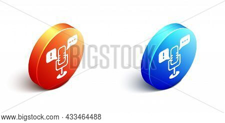 Isometric Freedom Of Speech Icon Isolated On White Background. Freedom Of Expression. Orange And Blu