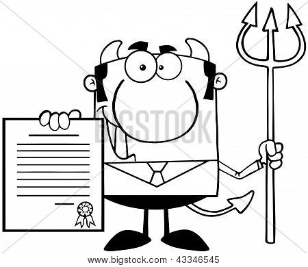 Outlined Smiling Devil Boss With A Trident Holds Up A Contract poster