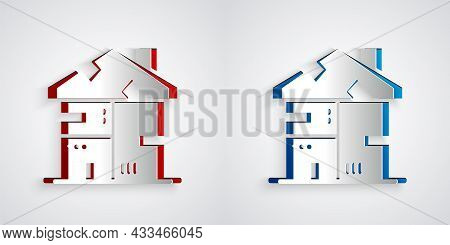 Paper Cut Homeless Cardboard House Icon Isolated On Grey Background. Paper Art Style. Vector
