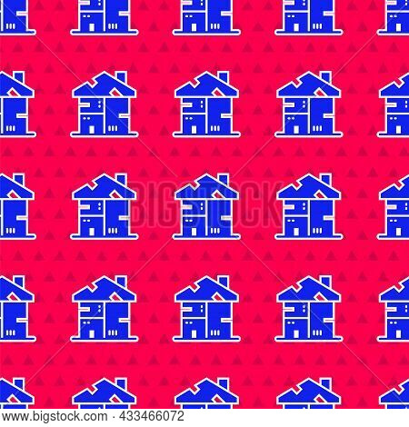 Blue Homeless Cardboard House Icon Isolated Seamless Pattern On Red Background. Vector