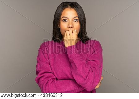 Scared Or Shocked African American Woman Cover Mouth. Young Mix Race Woman Frustrated Astonished Wit