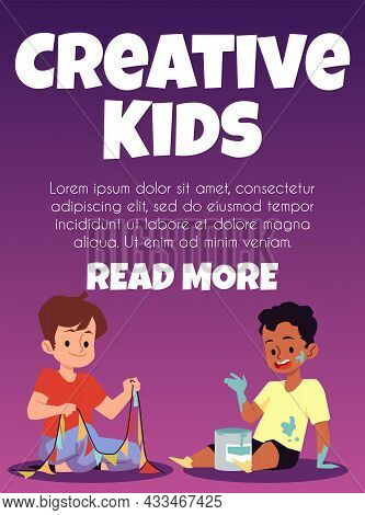 Creative Kids Banner With Children Crafting And Drawing, Vector Illustration.